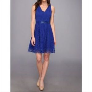 Donna Morgan Blue Gingam Cut Out Fit & Flare